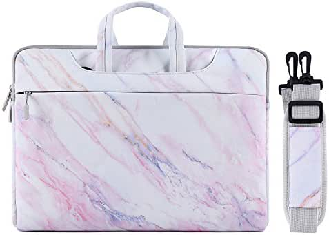 MOSISO Laptop Shoulder Bag Compatible 15-15.6 Inch MacBook Pro, Ultrabook Netbook Tablet, Protective Canvas Marble Pattern Carrying Handbag Briefcase Sleeve Case Cover, Pink