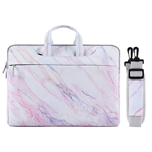 MOSISO Laptop Shoulder Bag Compatible 15-15.6 Inch MacBook Pro/Dell HP Acer Chromebook/Notebook/Ultrabook, Protective Canvas Marble Pattern Carrying Handbag Briefcase Sleeve Case Cover, Pink