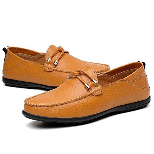 para Shufang Color los Ocio el Mocasines de resbalón Hombre 47 hasta EU en 2018 Color Amarillo de de tamaño Minimalism Zapatos shoes sólido 37 Mocasines Cuero mocasín Hombres tamaño rOw18Oxtq