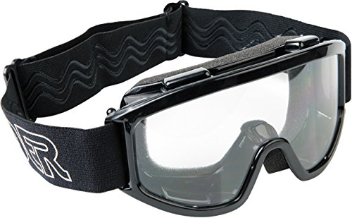 Raider 26-010 Single Lens Youth MX Off-Road Goggles, Black Frame/Clear Lens
