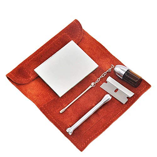 Genuine Leather Pouch Bag+ Snorter Tool Sniffer Straw Hooter Hoover Case Pocket (Brown)
