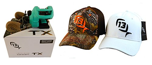 bundle-13-fishing-concept-tx-661-right-hand-saltwater-baitcast-fishing-reel-with-2-s-m-hats