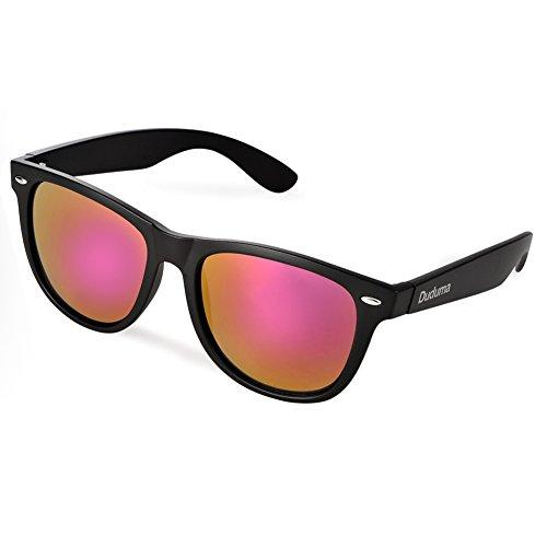 Duduma® Reflective Revo Color Full Mirrored Lens Large Horn Rimmed Style Uv400 Wayfarer Sunglasses (black frame with pink mirror lens)