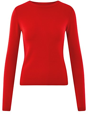 Rouge 4500n Femme Ultra Tricot Basique en oodji Pull Souple yROpWpq