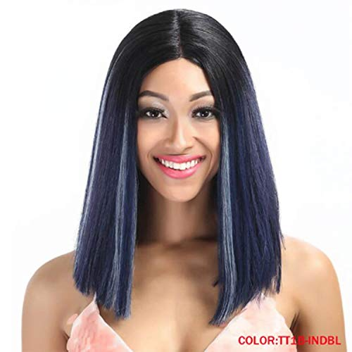 Straight Synthetic Hair And T Part Wig 14 Inch Wigs Blue Wig Colors Choice Cosplay Wig,TT1B INDBL,14inches ()
