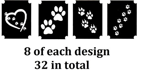 Cat and Dog Tattoo Stencil Collections (32 Tattoo Glitter Airbrush Stencil Paw Prints)]()