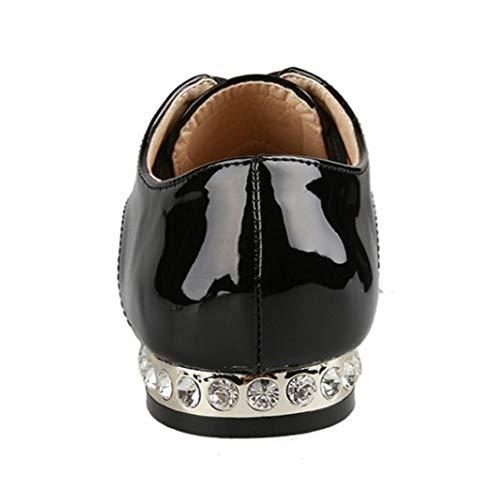COOLCEPT Bombas Negro Mujer Cordones Plano Zapatos Cómodo pqxzHrwp