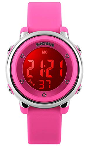 - Kids Outdoor Sports Children's Waterproof Wrist Dress Watch With LED Digital Alarm Stopwatch Lightweight Silicone for Boy Girl (Pink)