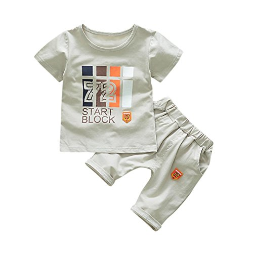 Memela Baby Boys' 2 Pieces Tops Pant Set,Printing Outfits Clothes Sets Layette 0-24 Months Infant Wear Spring/Summer (Gray, 18-24 Months)