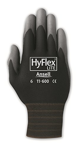 Ansell HyFlex 11-600 Nylon Polyurethane Glove, Gray Polyurethane Coating, Knit Wrist Cuff, Small, Size 7 (Pack of 12 Pairs)