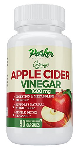 Organic Support Apples (Organic Apple Cider Vinegar 1600mg by Parker Naturals, 90 Capsules Supports Natural Weight Loss, Better Metabolism, Soothes Digestion, Gentle Detox Cleanser. Easy Swallow, No Sour Taste. 1600 mg.)