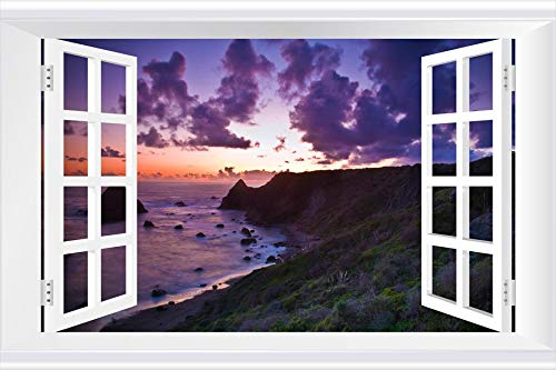 SHOBRILF Purple Sunset Clouds Above The Green Hills - Beach - #49274 - Art Print 3D Fake Windows Wall Stickers Removable Poster Wall Decor for Livingroom Bedroom 36x24 inches