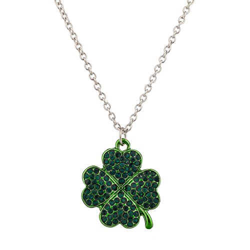 Lux Accessories 4 Four Leaf Clover Pave Green Crystal Luck Of The Irish St Saint Patrick's Day Necklace.