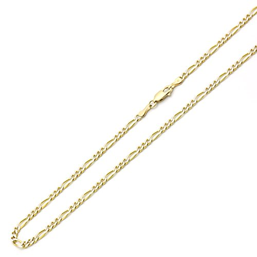 (Double Accent 14K Yellow Gold Chain 3mm Concaved White Pave Figaro Chain Necklace (16, 18, 20, 22, 24 Inches), 24