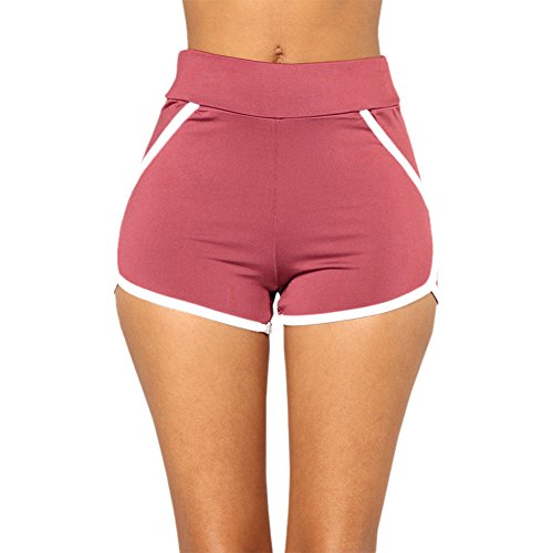 Women Sports Shorts, JOYFEEL ❤️ Ladies Skinny Ultra Stretch Mid-Rise Hot Pants Workout Running Yoga Gym Shorts Red