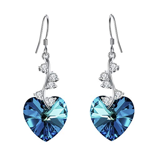 EleQueen Women's 925 Sterling Silver Swarovski Crystal Elements Love Heart French Hook Dangle Earrings Bermuda Blue ()