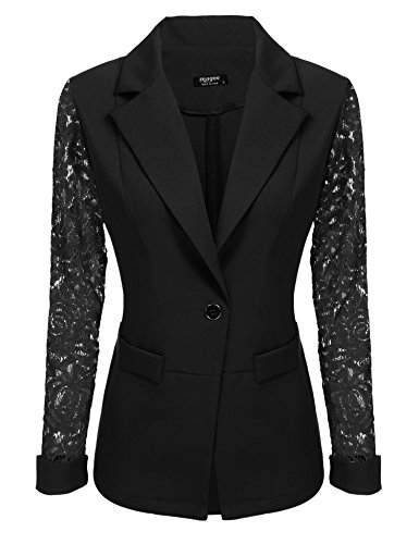 Lace Blazer Jacket - EASTHER Women's Lace Sleeve One Button Closure Open Front Jacket Blazer