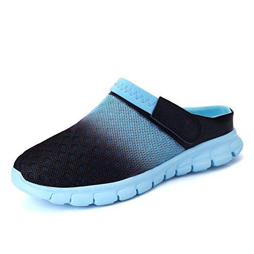 Sommer Gradient Sandale, Unisex Herren Damen Clog Breathable Mesh Sommer Sandalen Strand Aqua, Walking, Anti-Rutsch Sommer Hausschuhe Blau