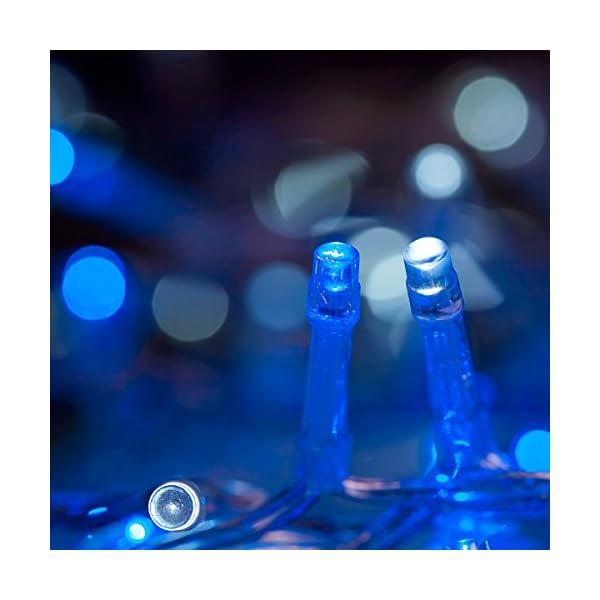 Catena Luminosa WISD Cavo Trasparente Stringa Luci Con 8 Modalità, Funzione Di Memoria, Decorativa Da Interni e Esterni, 33M 600 LED Catena Luci Per Casa/Natale/Giardino/Feste (Blu + Bianco) 5 spesavip