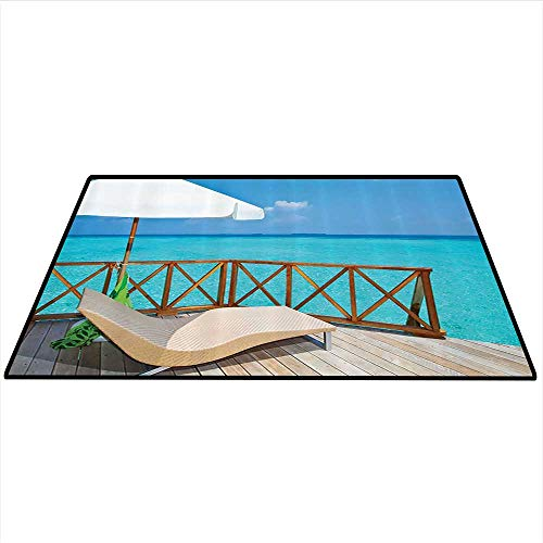 tion Area Silky Smooth Rugs Parasol and Chaise Lounges Deckchair on a Terrace of Water Villa in Maldives Reef Picture Mats Non Slip 4'x5' (W120cmxL150cm) Aqua Sandy Blue Ivory ()