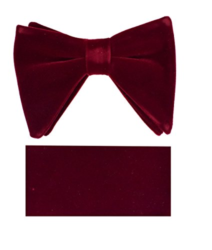 Velvet Bow Tie Set-LBTV-Burgundy-MM - Exclusive Silk Bow Tie