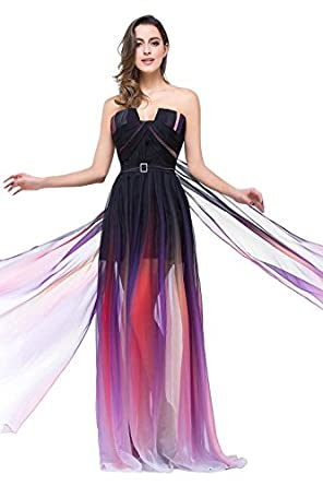 Babyonline Womens Gradient Chiffon Long Party Evening Gown Ombre Prom Dress