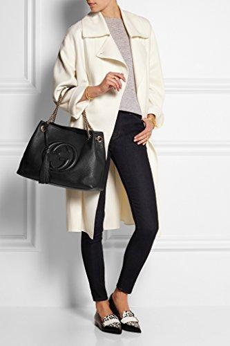 9976b3061 Amazon.com  Gucci Soho Medium Black Double Leather Chain Shoulder Bag Tote  Black Gold New  Shoes