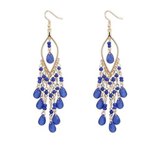 - Tassel Earrings, Muranba Women Charm Bohemian Colorful Beads Ear Drops Dangle Tassels Earrings 1 Pair (Blue)