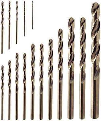 Juego de 16 brocas en torsión, 1 mm-10 mm, titanio cobalto M35 HSS brocas de metal para acero inoxidable, acero, cobre, hierro, aluminio, madera y plástico: Amazon.es: Bricolaje y herramientas