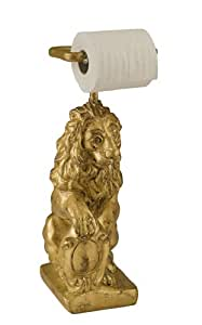 Hickory Manor House Standing Lion Toilet Paper Holder with Gold Leaf
