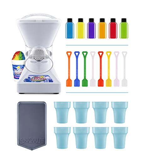 Little Snowie 2 Ice Shaver Bundle - Premium Shaved Ice Machine and Snow Cone Machine with Snowcone Syrup Samples, Drip Pan, Souvenir Cups and Spoons (Best Shaved Ice Machine For Home)
