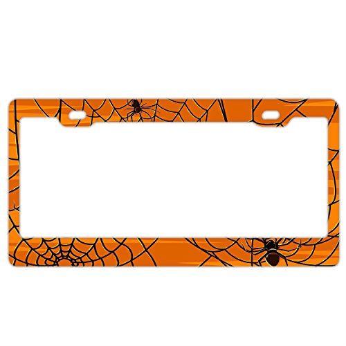 FunnyLpopoiamef Black Halloween Spiders Universal License Plate Frame For Women/Girls, Stainless Steel Metal License Plate Frame Humor, Auto Car for US Standard -