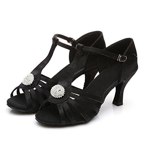 HROYL Zapatos de baile/Zapatos latinos de satín mujeres ES7-F26 el negro