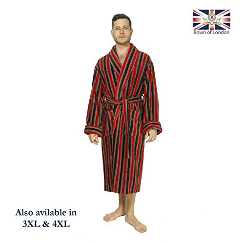 Bown of London - Men s Ely Velour Bathrobe 100% Egyptian Cotton in Red Rust  Stripe Pattern with Double Cuff b839bce75