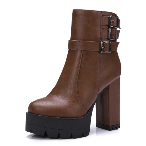 Chunky Brown Boots PU Round Women's Career Office Buckle Casual amp; Fall Gray White Heel Others Toe Brown Black BUfwnnqAW