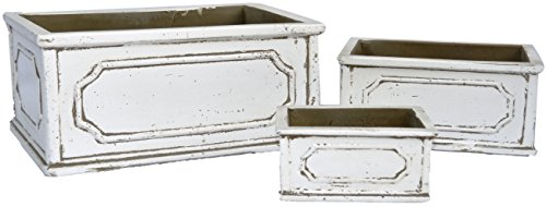 Rectangles Tuscany Natural Cement Fiber Planter Set, Color: Rustic ()