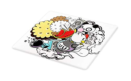 Ambesonne Indie Cutting Board, Animal and Food Themed Compos
