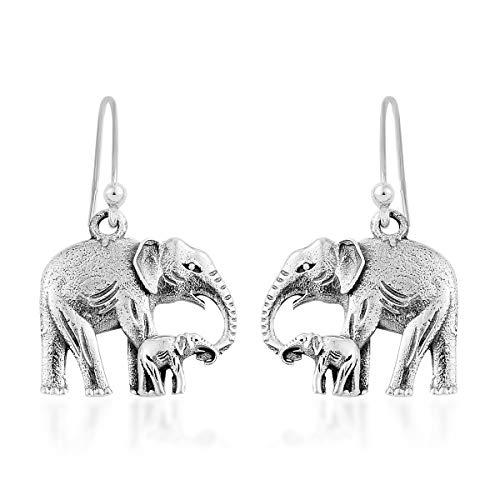 Elephant Dangle Drop Earrings Handmade 925 Sterling Silver Jewelry for Women 3.86 g
