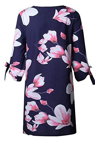 Shift Floral Sleeve Sundress 4 Gyozelem 3 Dress T Navy Blue Tunic Womens pink Loose Casual Shirt Dress qwv8q0O