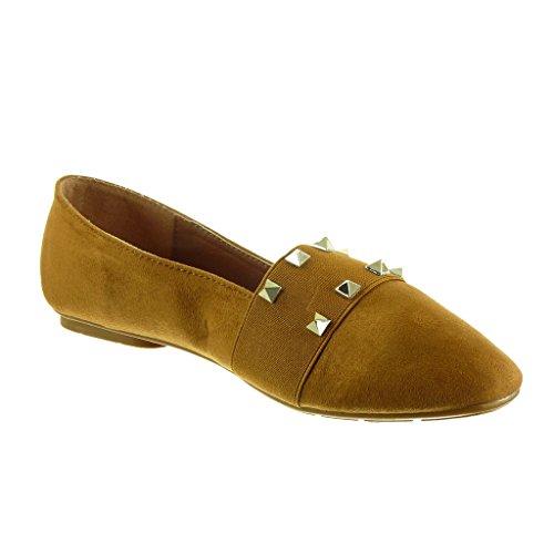Angkorly - damen Schuhe Mokassin - Slip-On - Nieten - besetzt Blockabsatz 1 CM Camel