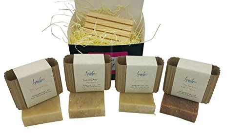 Lynne Leea Handmade All Natural Goat Milk Soap Gift Set, with 4 Scented Bars - Oatmeal Milk & Honey, Lavender Oatmeal, Vanilla & Sugar and Plumeria