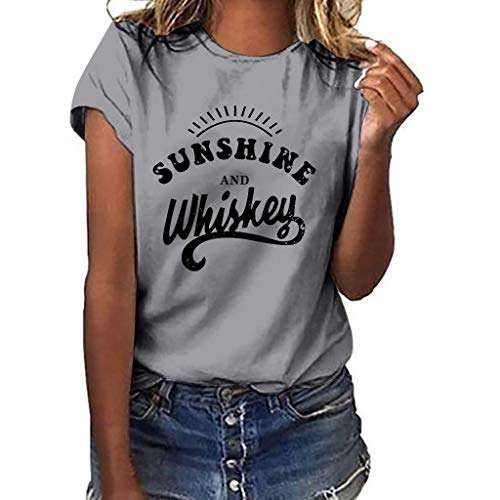 Women T-Shirt Casual Summer Short Sleeve Tee Letter Print Loose Blouse Tops (S, Gray)