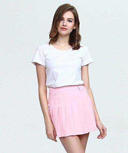 Elastique Heheja vase Polyester Plisse Courte pink Jupe Haute Jupes Slim Femme Taille En Mini Patineuse rOtwxzqO