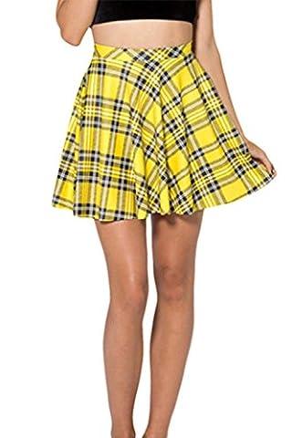 Women's Summer Simple Stretchy Pleated Plaid Mini Skater Skirt Yellow S - Pleated Plaid Mini