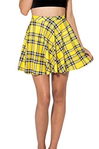 Women's Summer Simple Stretchy Pleated Plaid Mini Skater Skirt Yellow S
