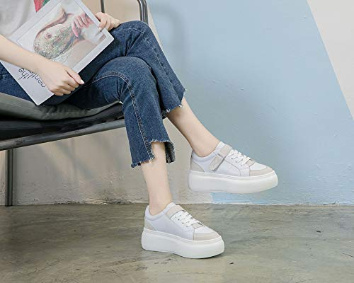 Thick Color Thirty Street Apricot Bottom Seven Women'S Summer Shoes KPHY Student Wild Leather Autumn Muffin Pat HRX6OT
