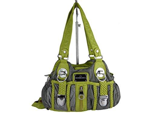 ALINA AKW19145, kleine Handtasche, diverse Fächer, Schultergurt, Schultertasche 26x17x10cm (blau / flieder) grau / olive