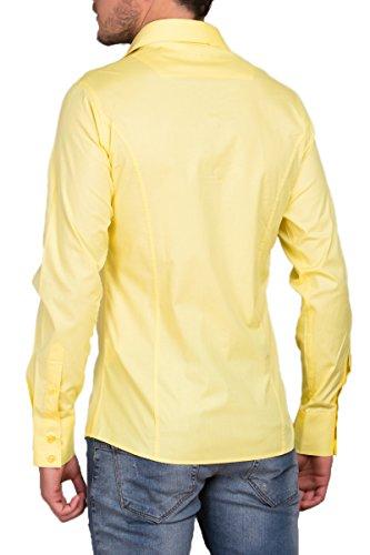Trajes Modelo Tiempo Para Hombre Fit Estándar Bodas Camisa Manga Slim Libre Amarillo Larga XZIAXx8