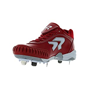 Ringor Women's Diamond Dynasty II Red Leather Metal Spike With Pitching Toe 5.5 B US