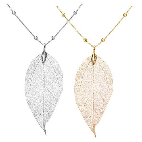 Dcfywl731 Fashion Three Triangle Arrow Long Chain Pendant Necklace for Women Metal Geometric Sweater Necklace Punk Jewelry (E:2pcs Leaf Nacklace)